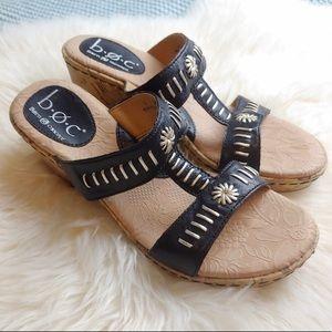 Born Concept Black w/silver Wedge Sandals